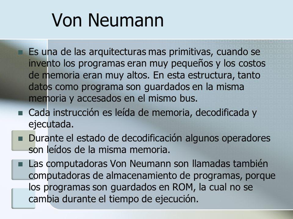 Von Neumann Es una de las arquitecturas mas primitivas, cuando se invento los programas eran muy pequeños y los costos de memoria eran muy altos. En e