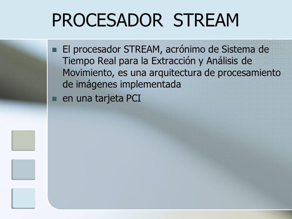 PROCESADOR STREAM El procesador STREAM, acrónimo de Sistema de Tiempo Real para la Extracción y Análisis de Movimiento, es una arquitectura de procesa