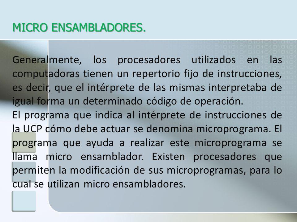 MICRO ENSAMBLADORES. Generalmente, los procesadores utilizados en las computadoras tienen un repertorio fijo de instrucciones, es decir, que el intérp