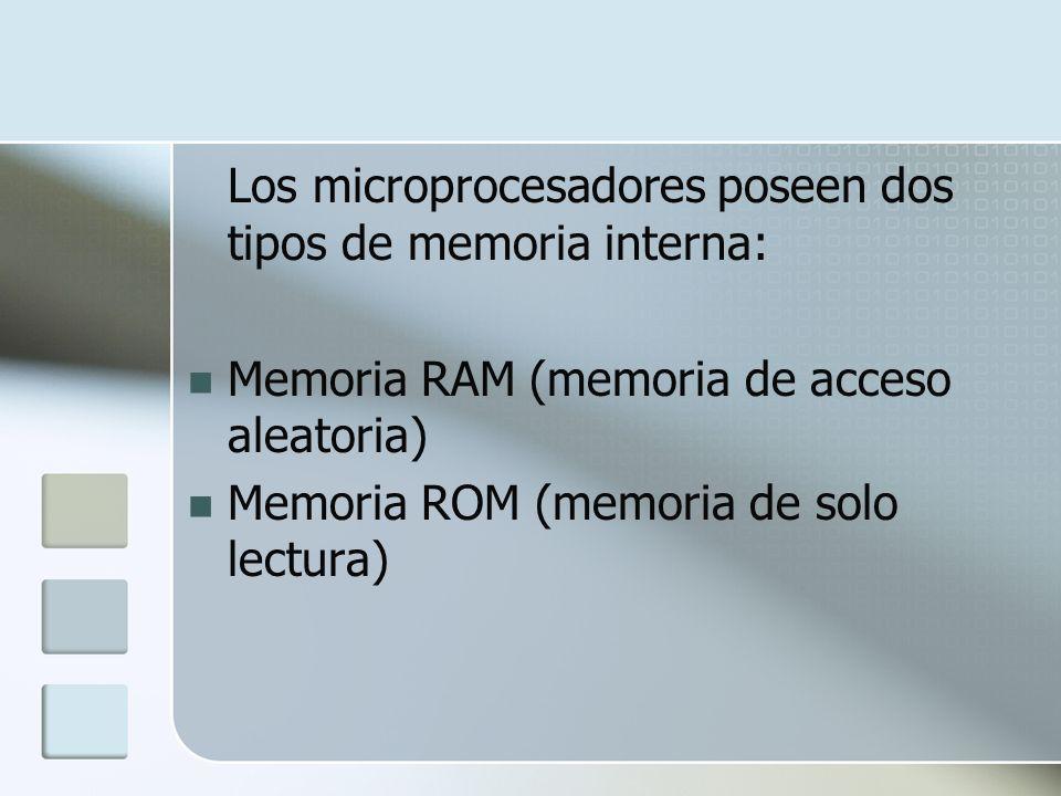Los microprocesadores poseen dos tipos de memoria interna: Memoria RAM (memoria de acceso aleatoria) Memoria ROM (memoria de solo lectura)