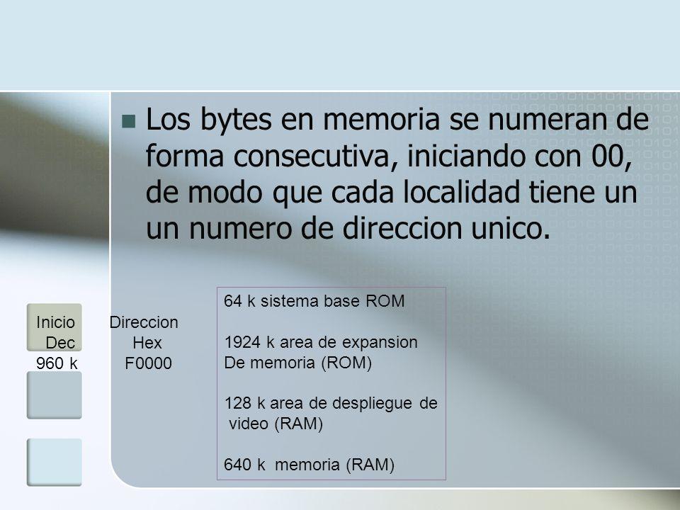 Los bytes en memoria se numeran de forma consecutiva, iniciando con 00, de modo que cada localidad tiene un un numero de direccion unico. 64 k sistema