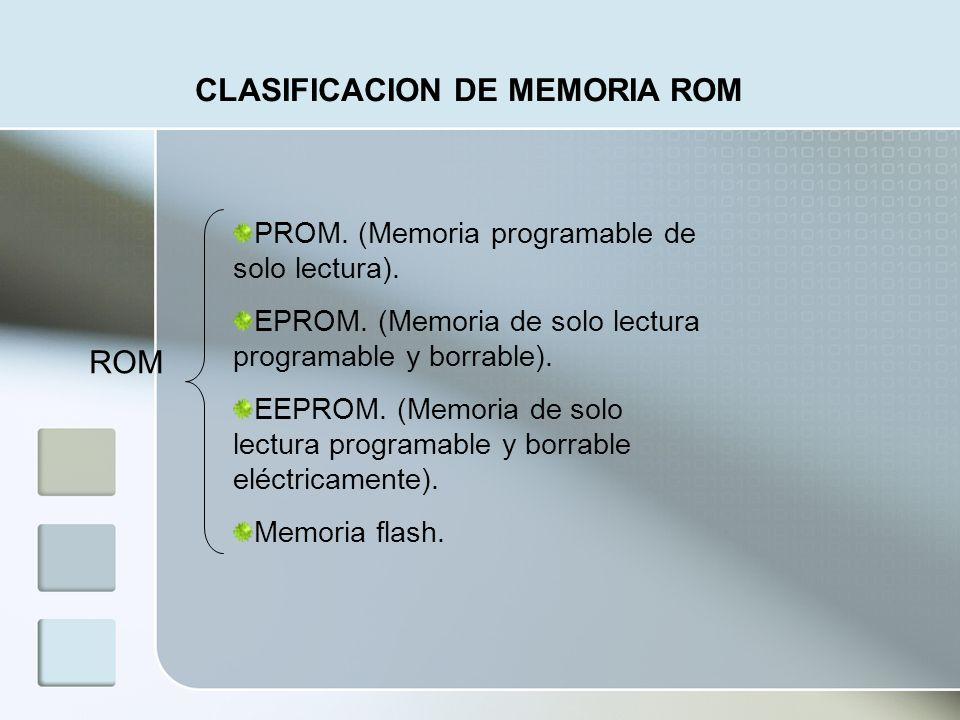 ROM CLASIFICACION DE MEMORIA ROM PROM. (Memoria programable de solo lectura). EPROM. (Memoria de solo lectura programable y borrable). EEPROM. (Memori
