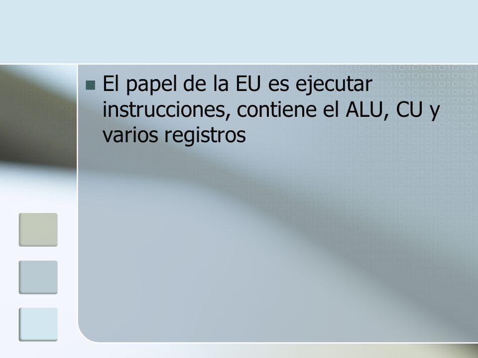 El papel de la EU es ejecutar instrucciones, contiene el ALU, CU y varios registros