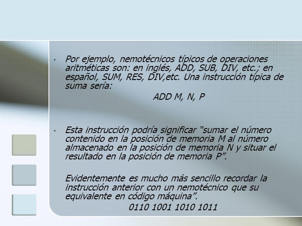 Por ejemplo, nemotécnicos típicos de operaciones aritméticas son: en inglés, ADD, SUB, DIV, etc.; en español, SUM, RES, DIV,etc. Una instrucción típic