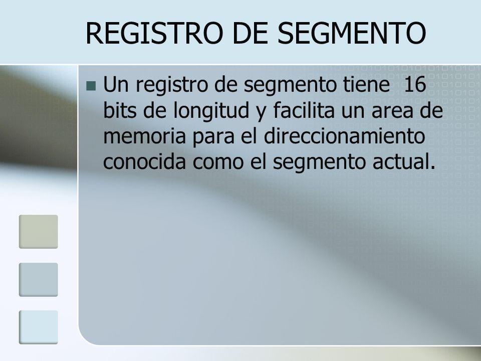 REGISTRO DE SEGMENTO Un registro de segmento tiene 16 bits de longitud y facilita un area de memoria para el direccionamiento conocida como el segment