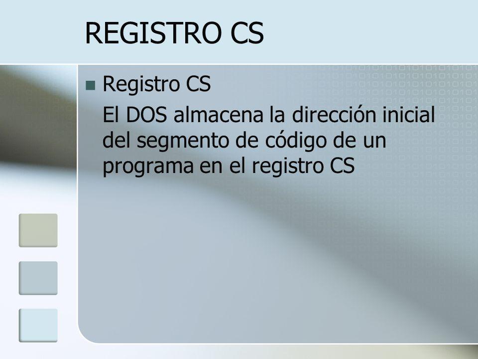 REGISTRO CS Registro CS El DOS almacena la dirección inicial del segmento de código de un programa en el registro CS