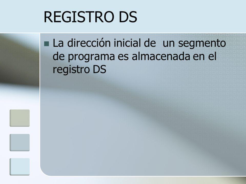 REGISTRO DS La dirección inicial de un segmento de programa es almacenada en el registro DS