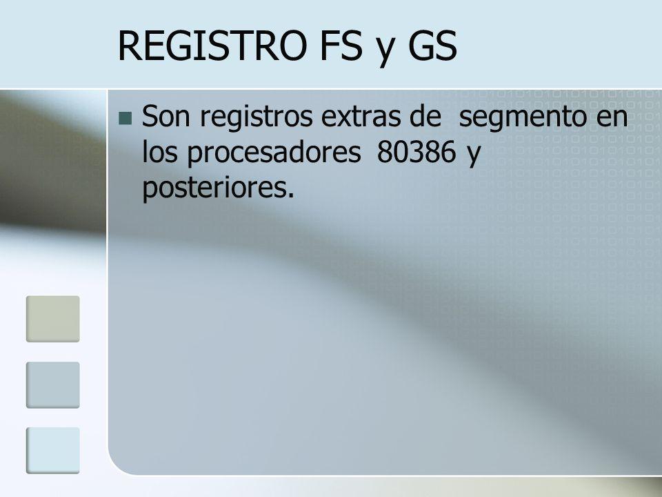 REGISTRO FS y GS Son registros extras de segmento en los procesadores 80386 y posteriores.