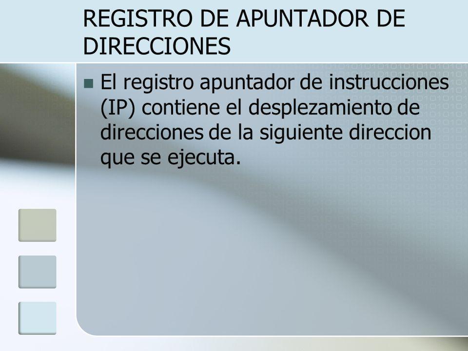 REGISTRO DE APUNTADOR DE DIRECCIONES El registro apuntador de instrucciones (IP) contiene el desplezamiento de direcciones de la siguiente direccion q