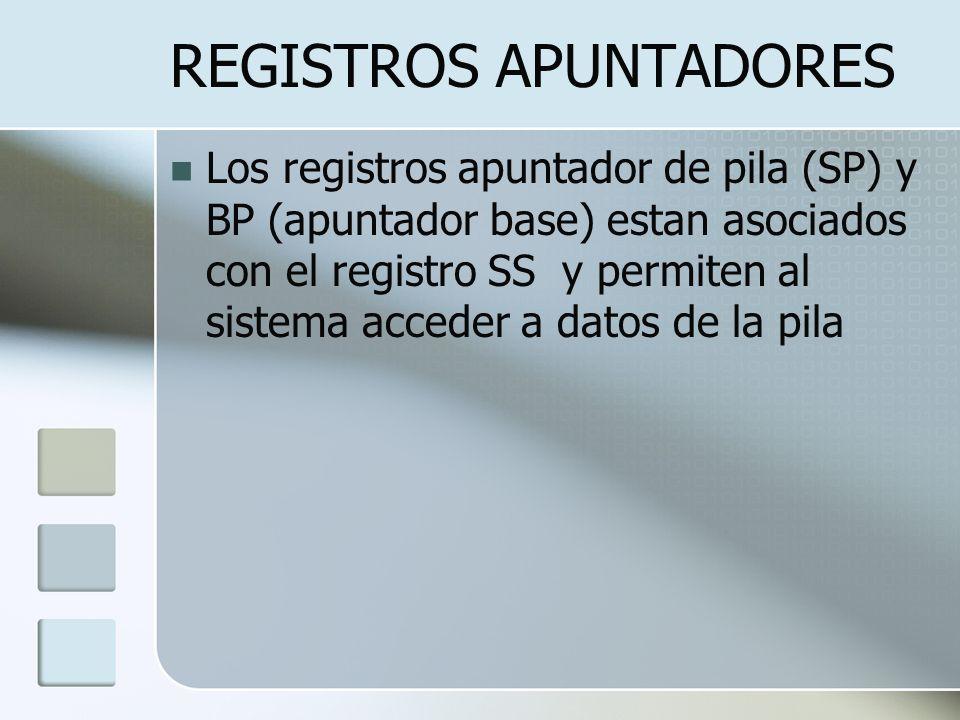 REGISTROS APUNTADORES Los registros apuntador de pila (SP) y BP (apuntador base) estan asociados con el registro SS y permiten al sistema acceder a da