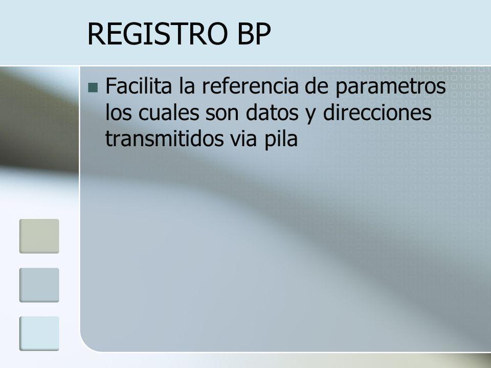 REGISTRO BP Facilita la referencia de parametros los cuales son datos y direcciones transmitidos via pila