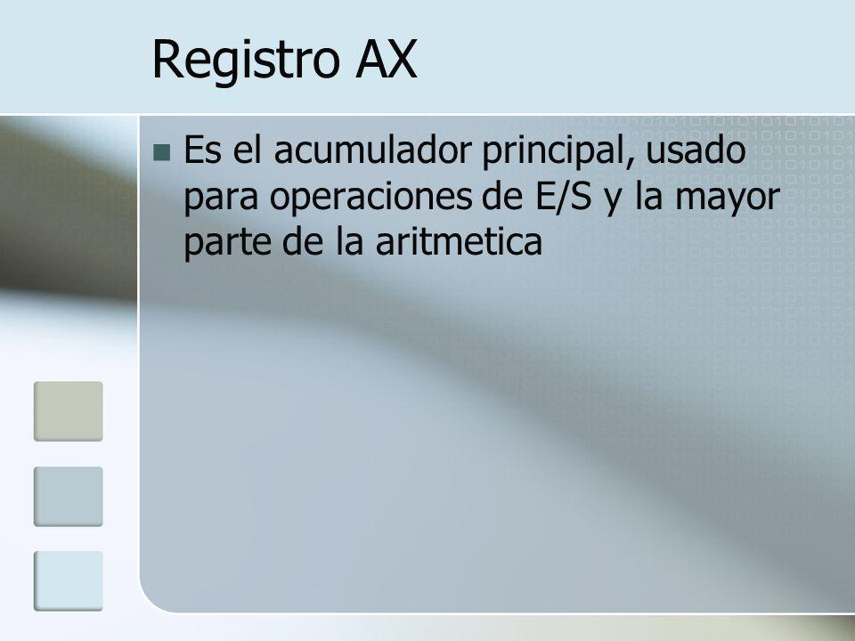 Registro AX Es el acumulador principal, usado para operaciones de E/S y la mayor parte de la aritmetica
