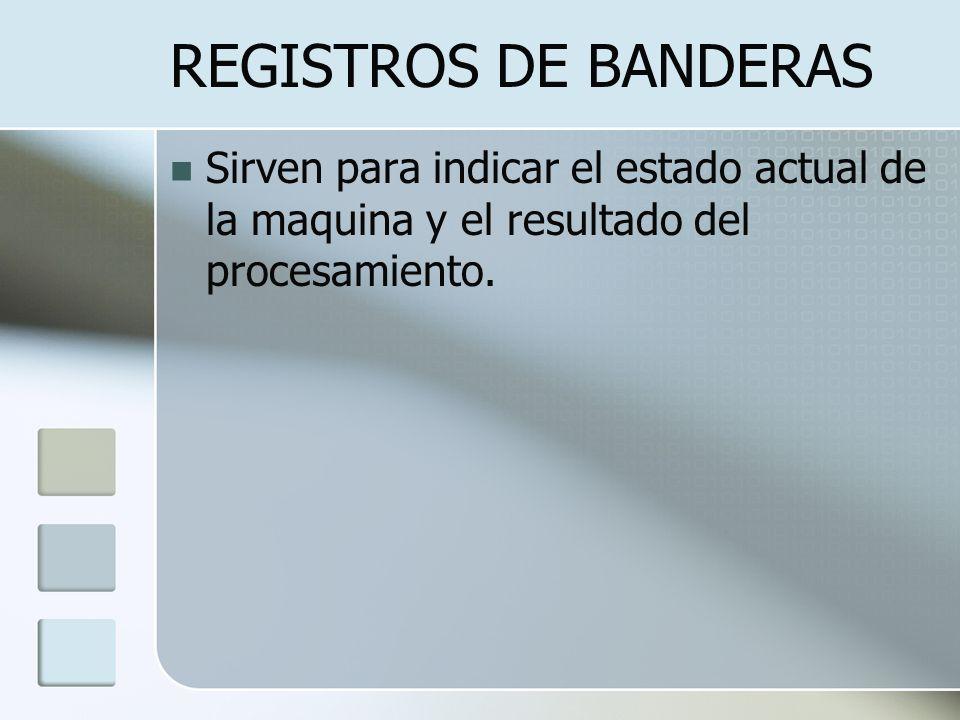 REGISTROS DE BANDERAS Sirven para indicar el estado actual de la maquina y el resultado del procesamiento.