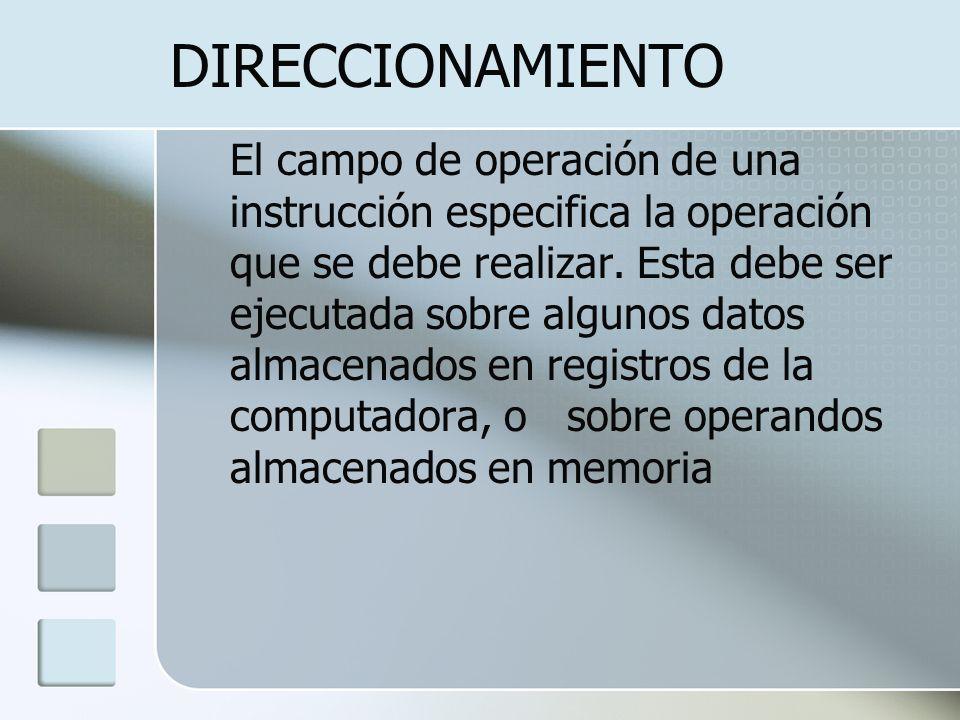 DIRECCIONAMIENTO El campo de operación de una instrucción especifica la operación que se debe realizar. Esta debe ser ejecutada sobre algunos datos al