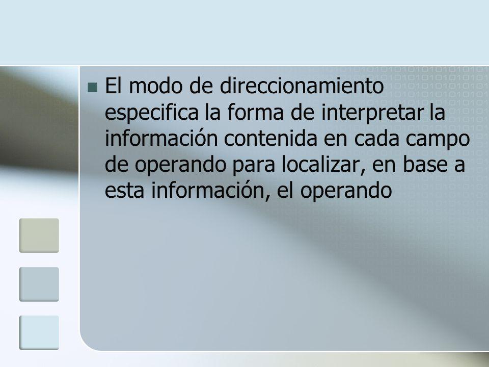 El modo de direccionamiento especifica la forma de interpretar la información contenida en cada campo de operando para localizar, en base a esta infor