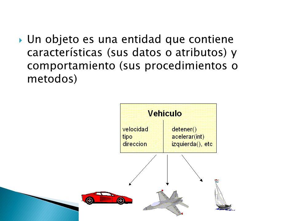 Un objeto es una entidad que contiene características (sus datos o atributos) y comportamiento (sus procedimientos o metodos)