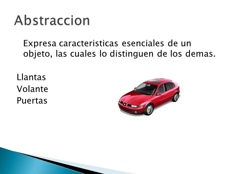 Expresa caracteristicas esenciales de un objeto, las cuales lo distinguen de los demas. Llantas Volante Puertas