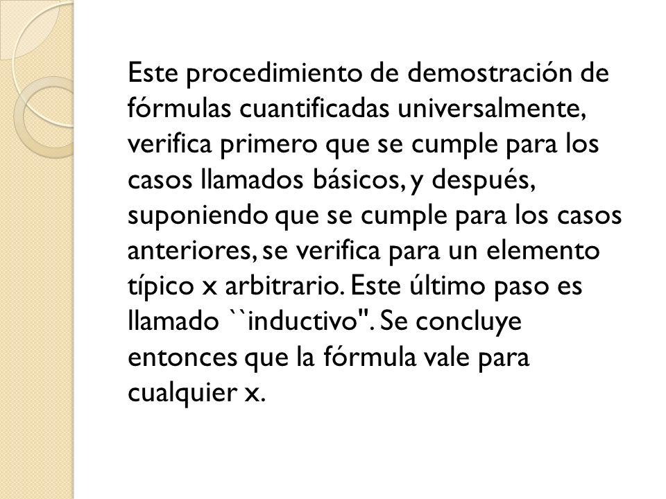 Este procedimiento de demostración de fórmulas cuantificadas universalmente, verifica primero que se cumple para los casos llamados básicos, y después