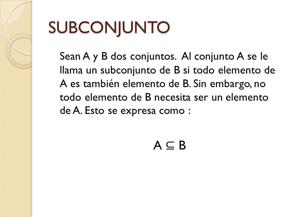SUBCONJUNTO Sean A y B dos conjuntos. Al conjunto A se le llama un subconjunto de B si todo elemento de A es también elemento de B. Sin embargo, no to