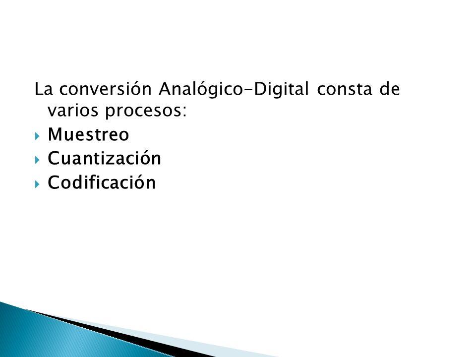 La conversión Analógico-Digital consta de varios procesos: Muestreo Cuantización Codificación