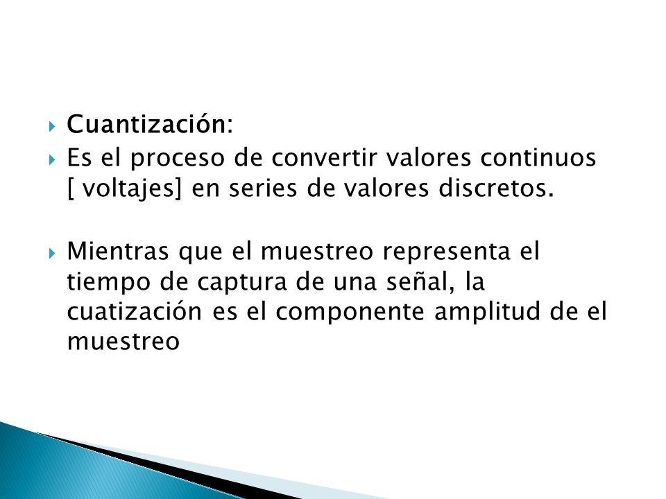 Cuantización: Es el proceso de convertir valores continuos [ voltajes] en series de valores discretos. Mientras que el muestreo representa el tiempo d