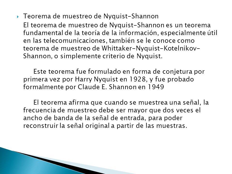 Teorema de muestreo de Nyquist-Shannon El teorema de muestreo de Nyquist-Shannon es un teorema fundamental de la teoría de la información, especialmen