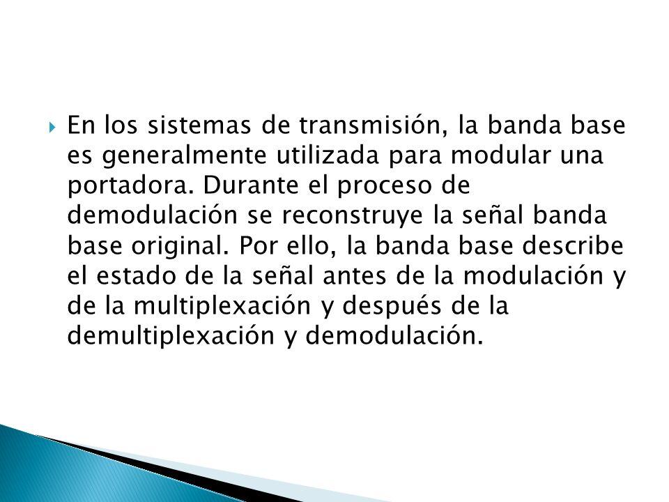 En los sistemas de transmisión, la banda base es generalmente utilizada para modular una portadora. Durante el proceso de demodulación se reconstruye