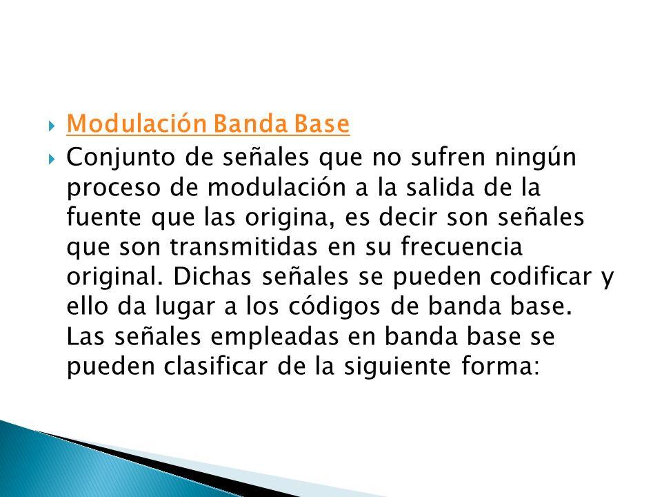 Modulación Banda Base Conjunto de señales que no sufren ningún proceso de modulación a la salida de la fuente que las origina, es decir son señales qu