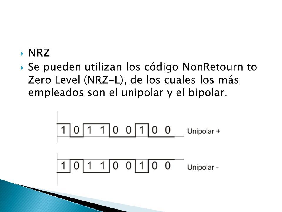 NRZ Se pueden utilizan los código NonRetourn to Zero Level (NRZ-L), de los cuales los más empleados son el unipolar y el bipolar.
