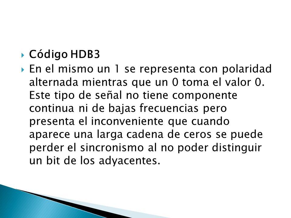 Código HDB3 En el mismo un 1 se representa con polaridad alternada mientras que un 0 toma el valor 0. Este tipo de señal no tiene componente continua
