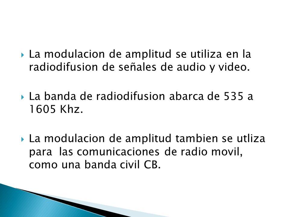 La modulacion de amplitud se utiliza en la radiodifusion de señales de audio y video. La banda de radiodifusion abarca de 535 a 1605 Khz. La modulacio