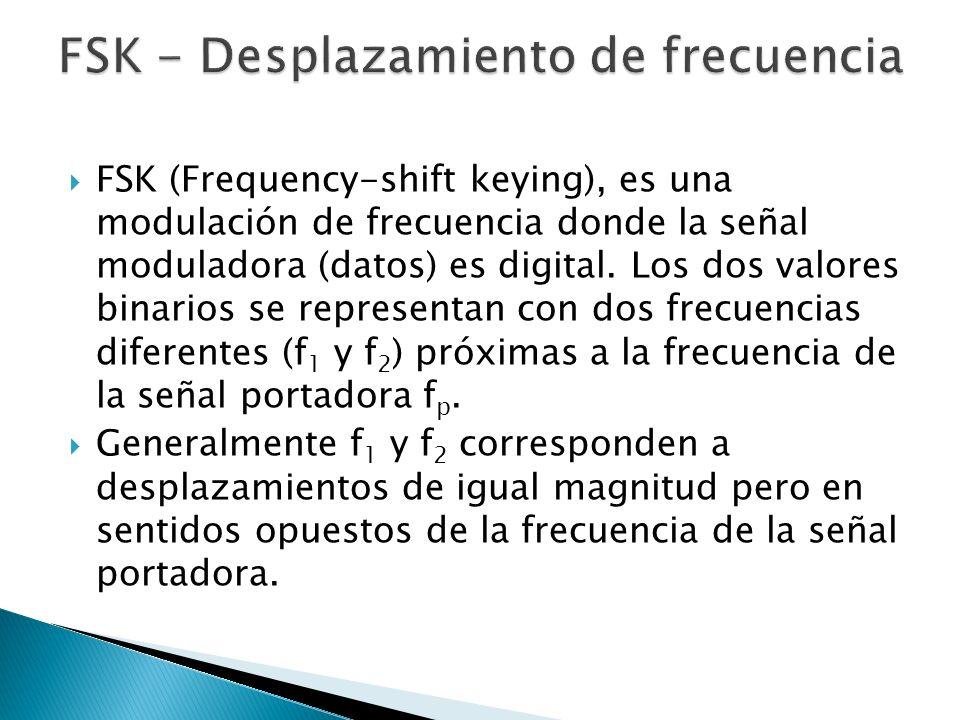 FSK (Frequency-shift keying), es una modulación de frecuencia donde la señal moduladora (datos) es digital. Los dos valores binarios se representan co