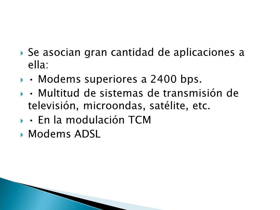 Se asocian gran cantidad de aplicaciones a ella: Modems superiores a 2400 bps. Multitud de sistemas de transmisión de televisión, microondas, satélite