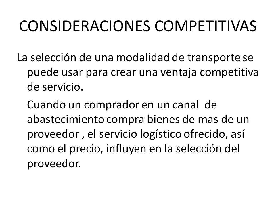 CONSIDERACIONES COMPETITIVAS La selección de una modalidad de transporte se puede usar para crear una ventaja competitiva de servicio. Cuando un compr