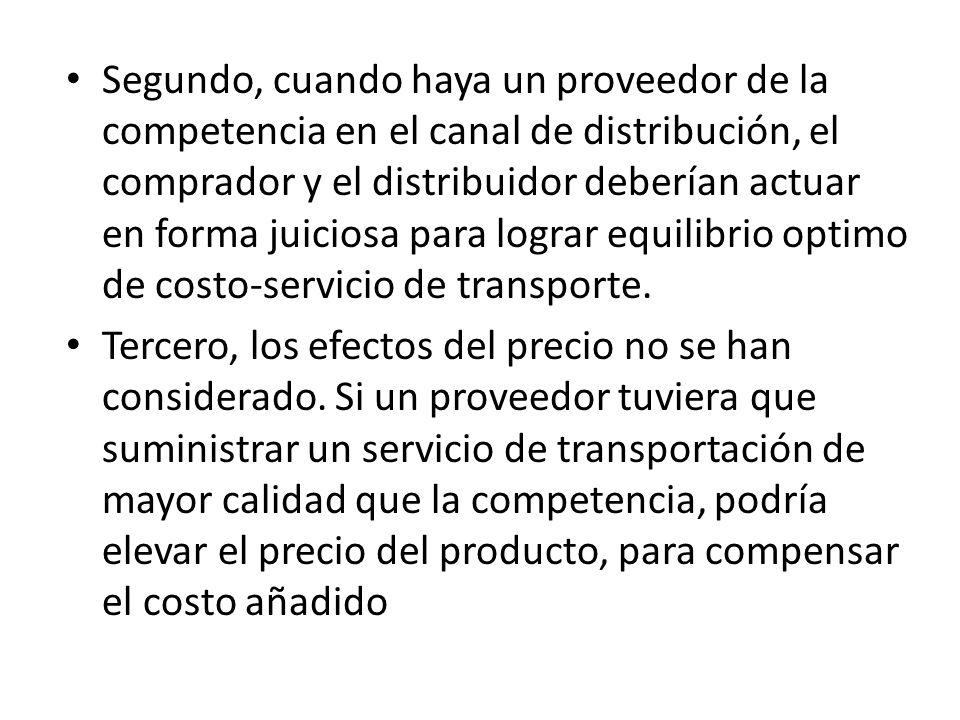 Segundo, cuando haya un proveedor de la competencia en el canal de distribución, el comprador y el distribuidor deberían actuar en forma juiciosa para