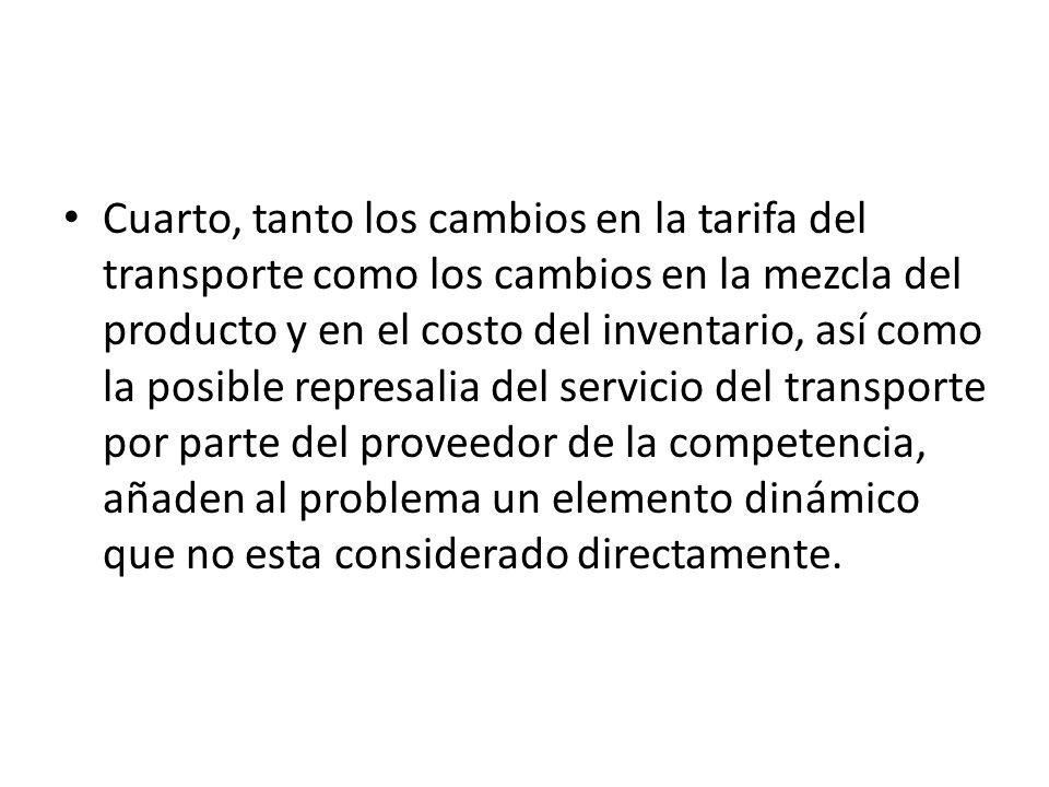 Cuarto, tanto los cambios en la tarifa del transporte como los cambios en la mezcla del producto y en el costo del inventario, así como la posible rep