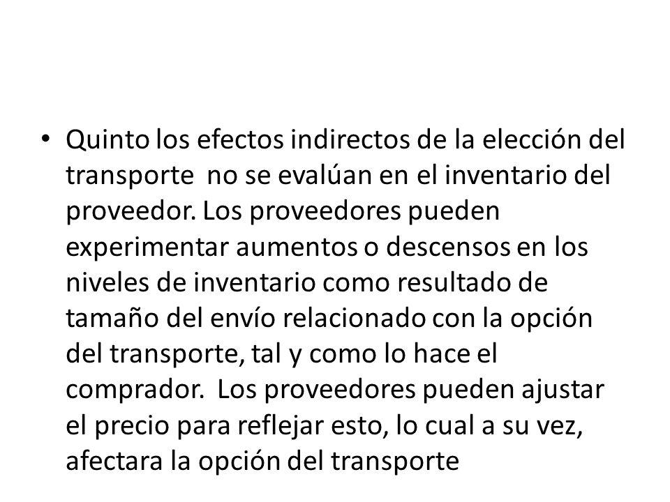 Quinto los efectos indirectos de la elección del transporte no se evalúan en el inventario del proveedor. Los proveedores pueden experimentar aumentos