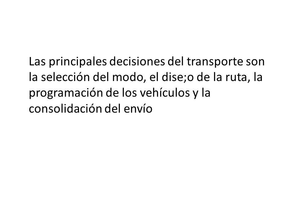 Las principales decisiones del transporte son la selección del modo, el dise;o de la ruta, la programación de los vehículos y la consolidación del env