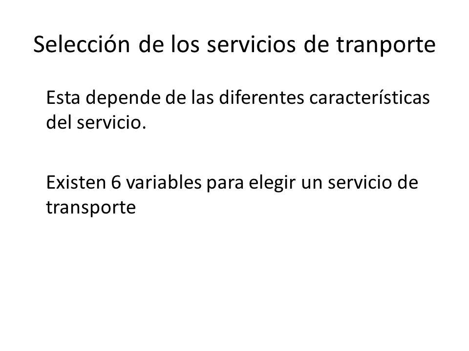 Evaluación de métodos de selección En la selección de servicio de transporte se reconoce la necesidad de considerar el efecto indirecto que tiene la opción de transportación sobre los costos de inventario, y de la preferencia del miembro del canal de la logística que recibe la propuesta de desempeño del modo de transportación.