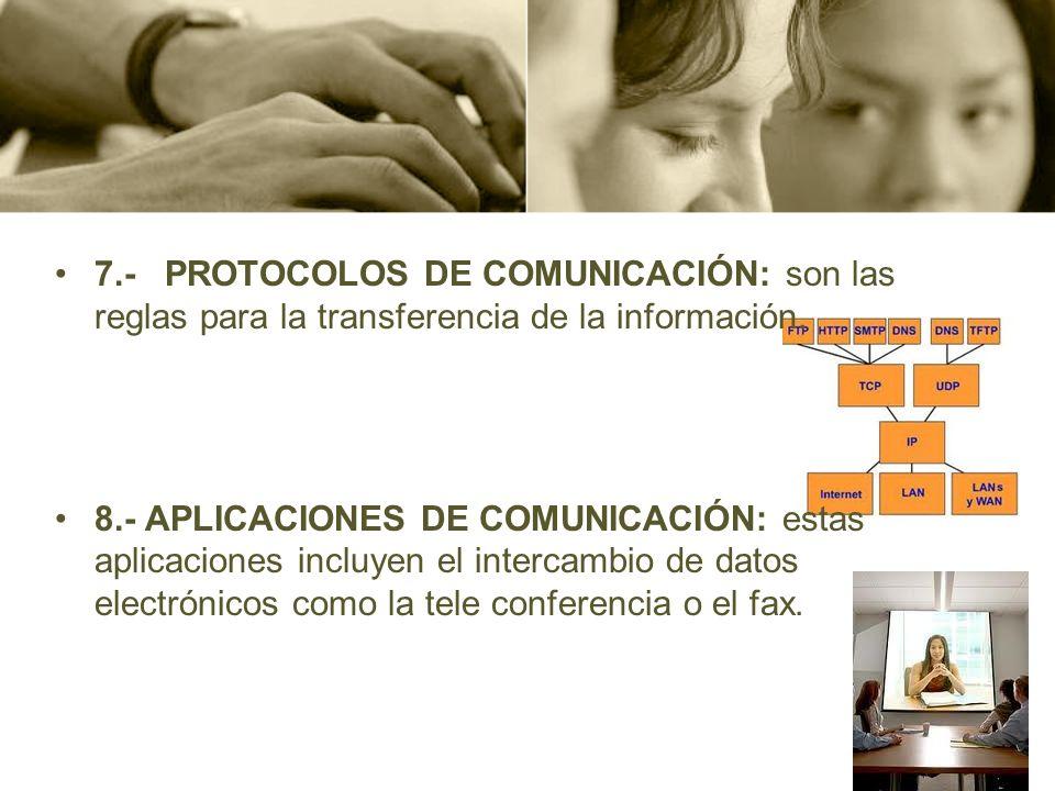 7.- PROTOCOLOS DE COMUNICACIÓN: son las reglas para la transferencia de la información. 8.- APLICACIONES DE COMUNICACIÓN: estas aplicaciones incluyen