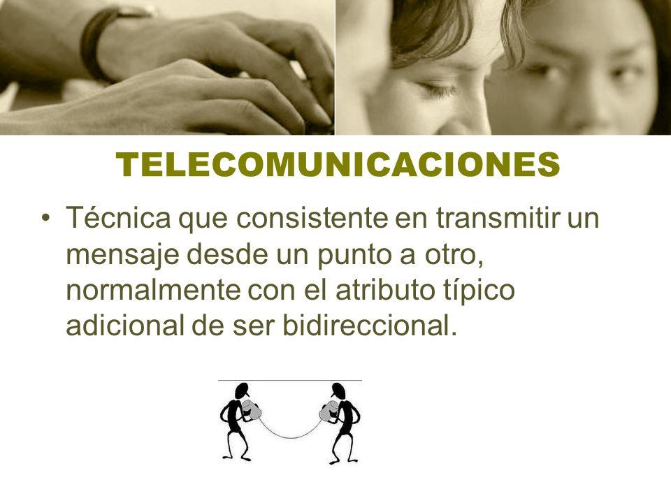 TELECOMUNICACIONES Técnica que consistente en transmitir un mensaje desde un punto a otro, normalmente con el atributo típico adicional de ser bidirec