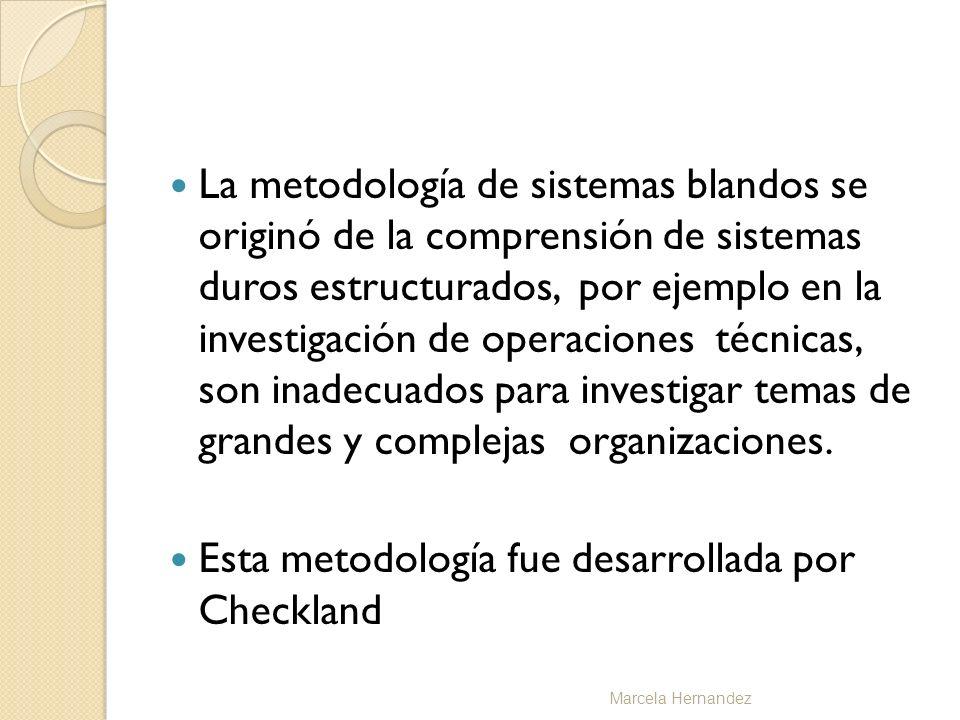 La metodología de sistemas blandos se originó de la comprensión de sistemas duros estructurados, por ejemplo en la investigación de operaciones técnic