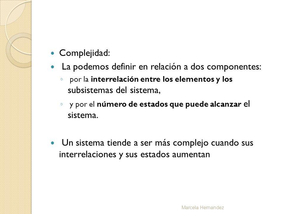 Complejidad: La podemos definir en relación a dos componentes: por la interrelación entre los elementos y los subsistemas del sistema, y por el número