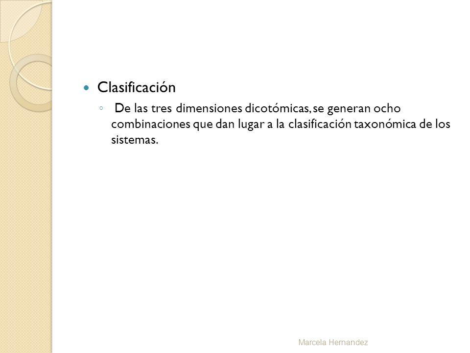 Clasificación De las tres dimensiones dicotómicas, se generan ocho combinaciones que dan lugar a la clasificación taxonómica de los sistemas. Marcela
