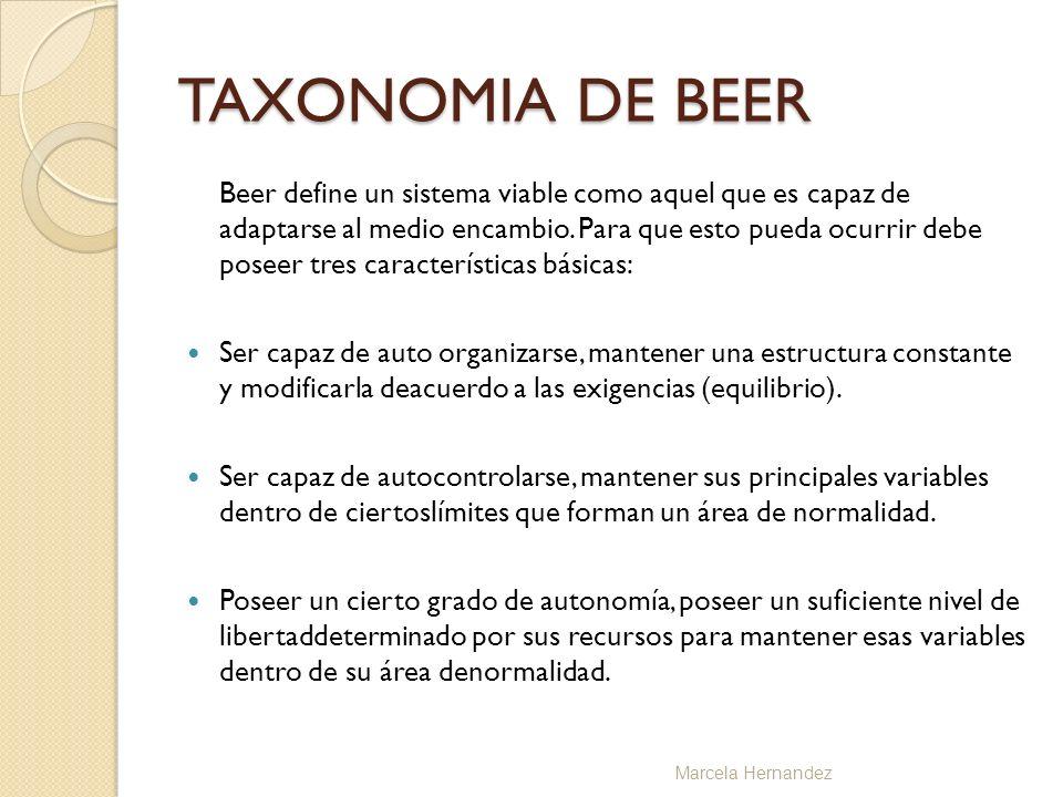 TAXONOMIA DE BEER Beer define un sistema viable como aquel que es capaz de adaptarse al medio encambio. Para que esto pueda ocurrir debe poseer tres c
