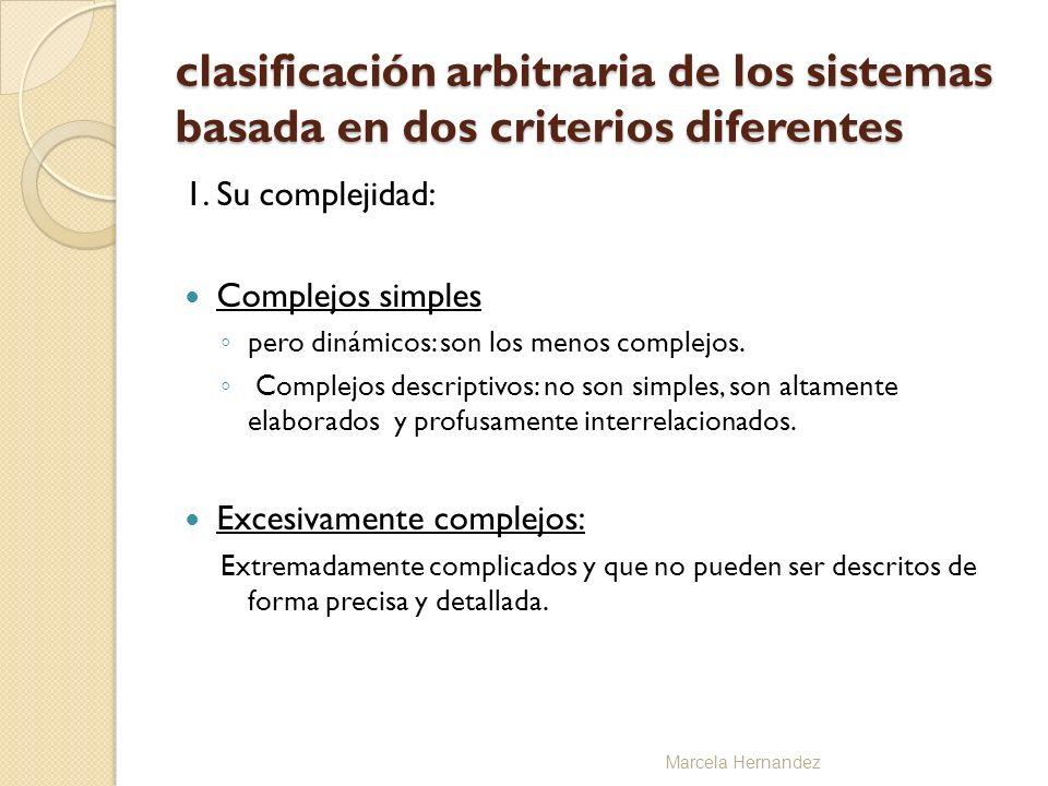 clasificación arbitraria de los sistemas basada en dos criterios diferentes 1. Su complejidad: Complejos simples pero dinámicos: son los menos complej