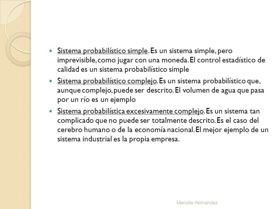 Sistema probabilístico simple. Es un sistema simple, pero imprevisible, como jugar con una moneda. El control estadístico de calidad es un sistema pro