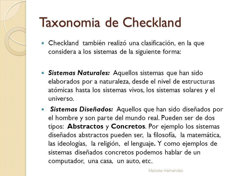 Taxonomia de Checkland Checkland también realizó una clasificación, en la que considera a los sistemas de la siguiente forma: Sistemas Naturales: Aque