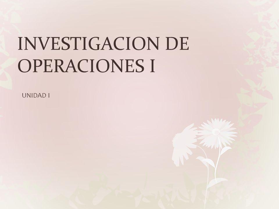 INVESTIGACION DE OPERACIONES I UNIDAD I