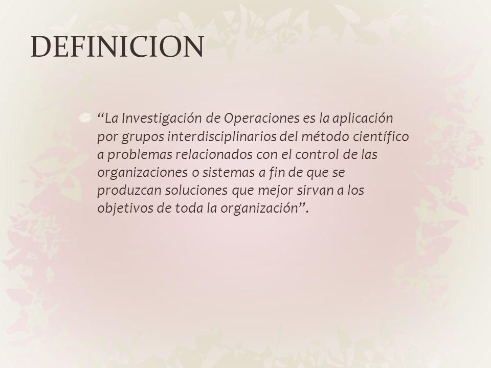 DEFINICION La Investigación de Operaciones es la aplicación por grupos interdisciplinarios del método científico a problemas relacionados con el contr